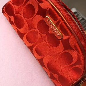Coach Red Monogram Mini Makeup Bag